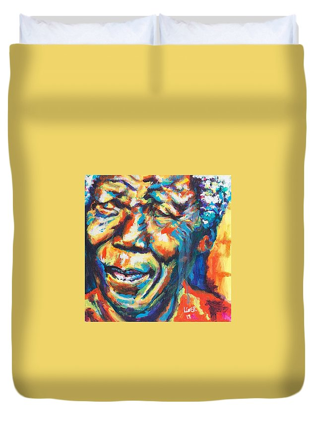 Madiba Duvet Cover featuring the painting Madiba by Larry Ger