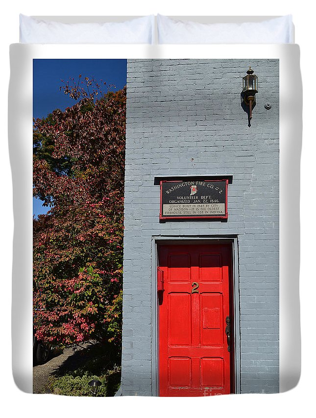 Red Door Duvet Cover featuring the photograph Madison Red Fire House Door by Amy Lucid
