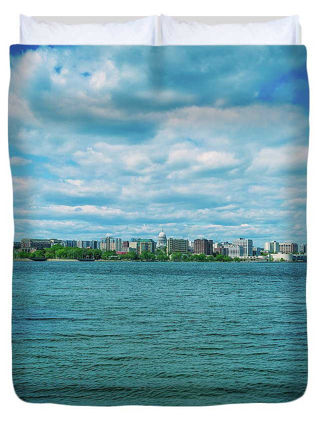 Madison Duvet Cover featuring the photograph Madison Skyline by Rockland Filmworks