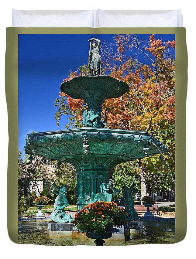 Water Fountain Duvet Cover featuring the photograph Madison Water Fountain In Fall by Amy Lucid