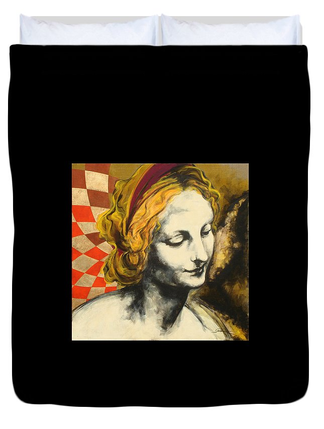 Pop Duvet Cover featuring the painting Madona Face by Jean Pierre Rousselet