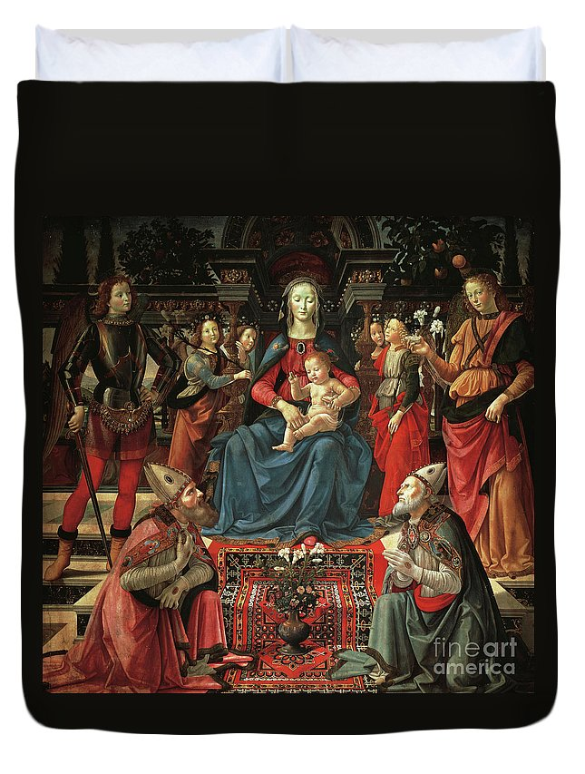 Ghirlandaio Duvet Cover featuring the painting Madonna And Child Enthroned With Saints by Domenico Ghirlandaio