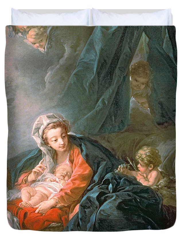 Madonna Duvet Cover featuring the painting Madonna And Child by Francois Boucher