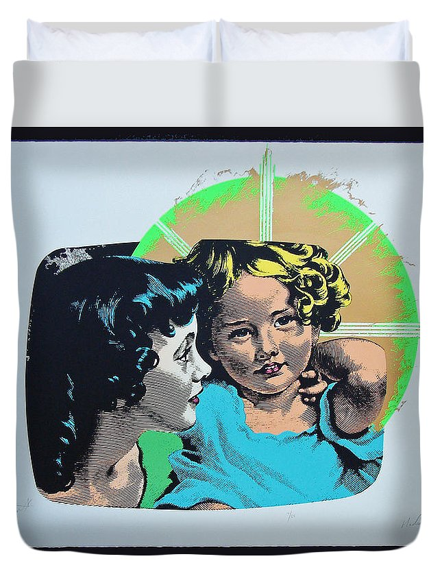 Madonna And Child Duvet Cover featuring the mixed media Madonna De Milo by Charles Stuart