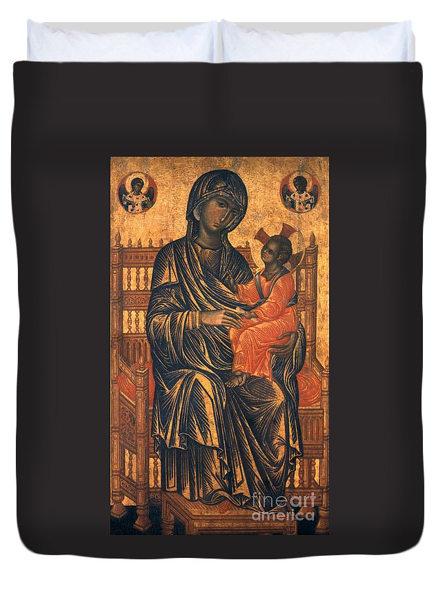 13th Century Duvet Cover featuring the photograph Madonna Icon, 13th Century by Granger
