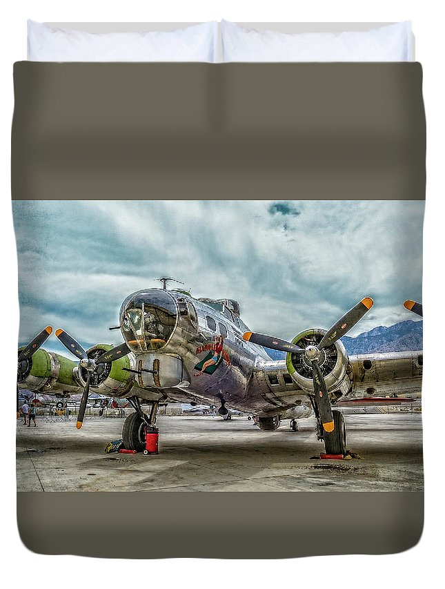 B17 Bomber Duvet Cover featuring the photograph Madras Maiden B-17 Bomber by Sandra Selle Rodriguez