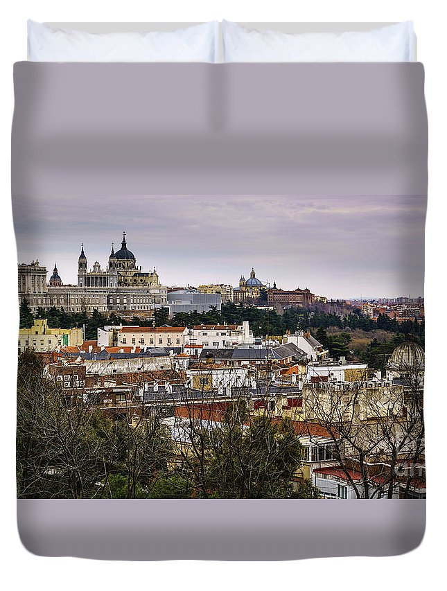 Spain Duvet Cover featuring the photograph Madrid Panorama From Debod Lookout Madrid Spain by Pablo Avanzini