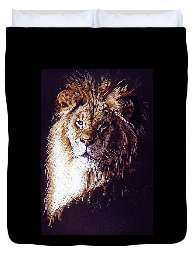 Lion Duvet Cover featuring the drawing Maestro by Barbara Keith