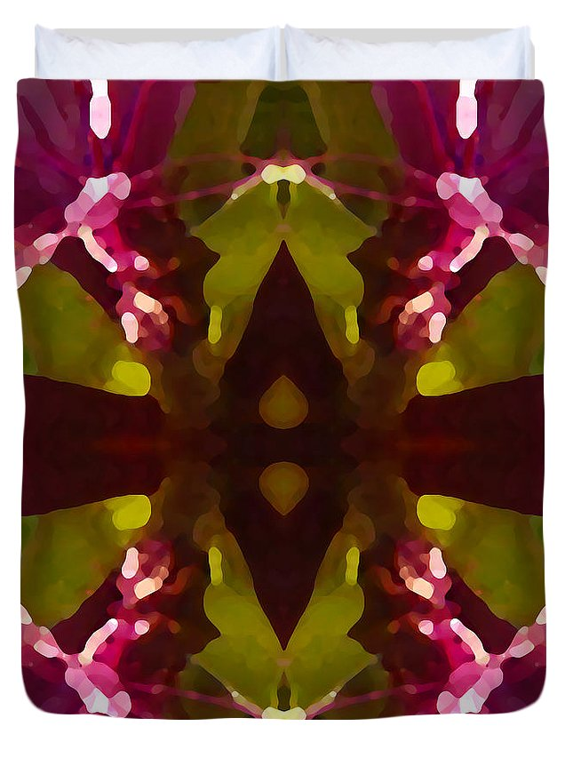 Abstract Painting Duvet Cover featuring the digital art Magent Crystal Flower by Amy Vangsgard
