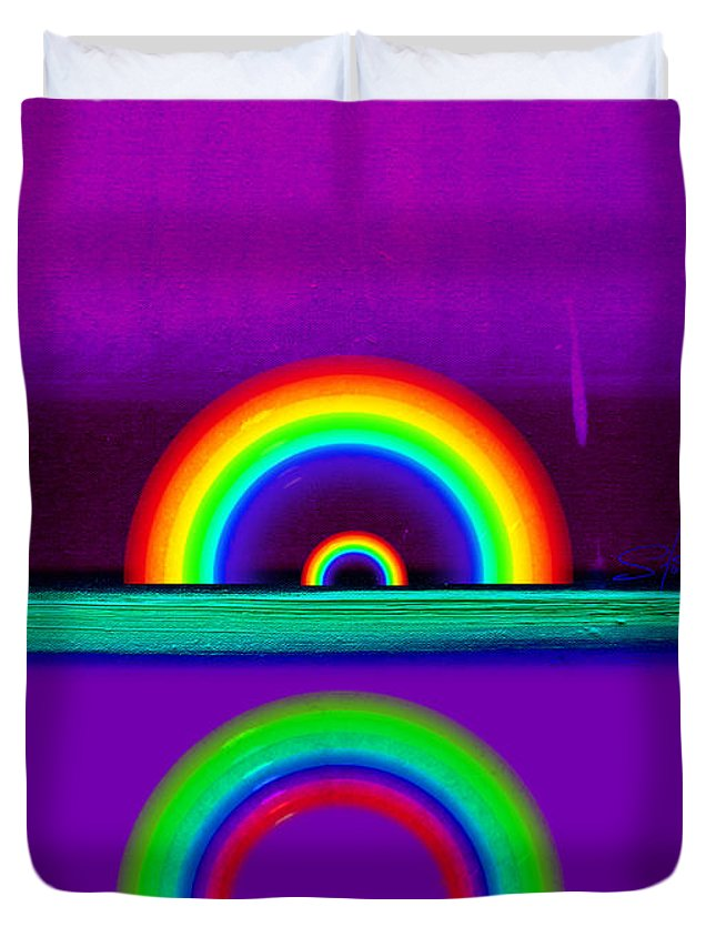 Rainbow Duvet Cover featuring the painting Magenta Sunset by Charles Stuart