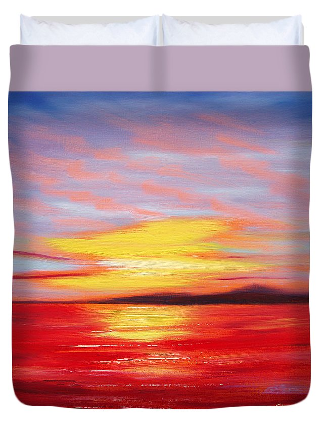 Sunset Original Painting Gold Yellow Red And Orange Colors Art By Gina De Gorna Seascape Abstract Duvet Cover featuring the painting Magic At Sunset by Gina De Gorna
