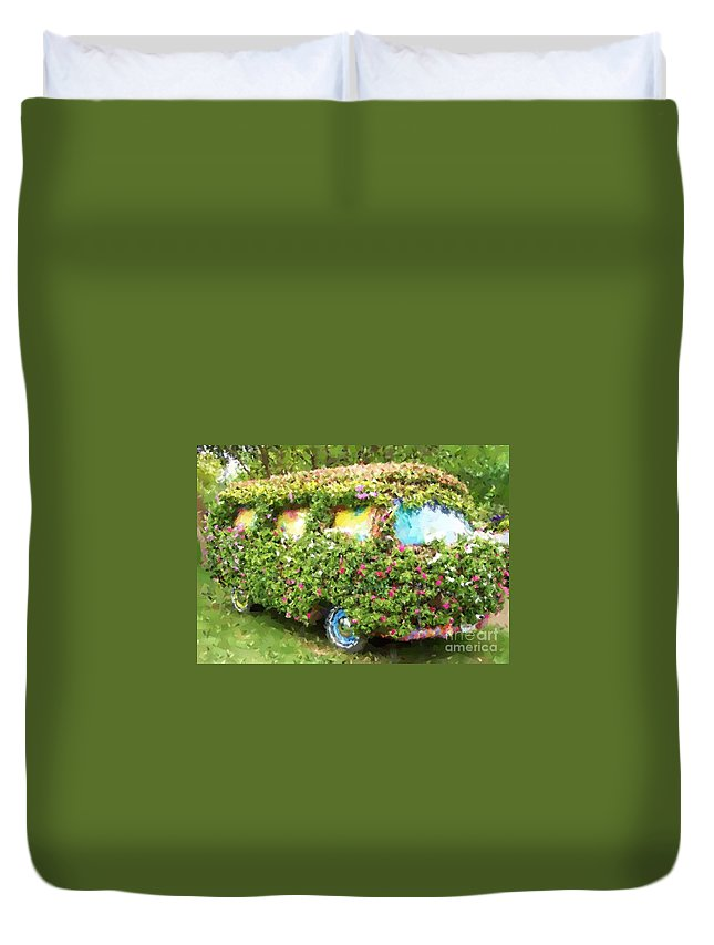 Volkswagen Duvet Cover featuring the photograph Magic Bus by Debbi Granruth