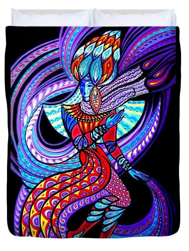 Inga Vereshchagina Duvet Cover featuring the painting Magic Dance In The Void by Inga Vereshchagina