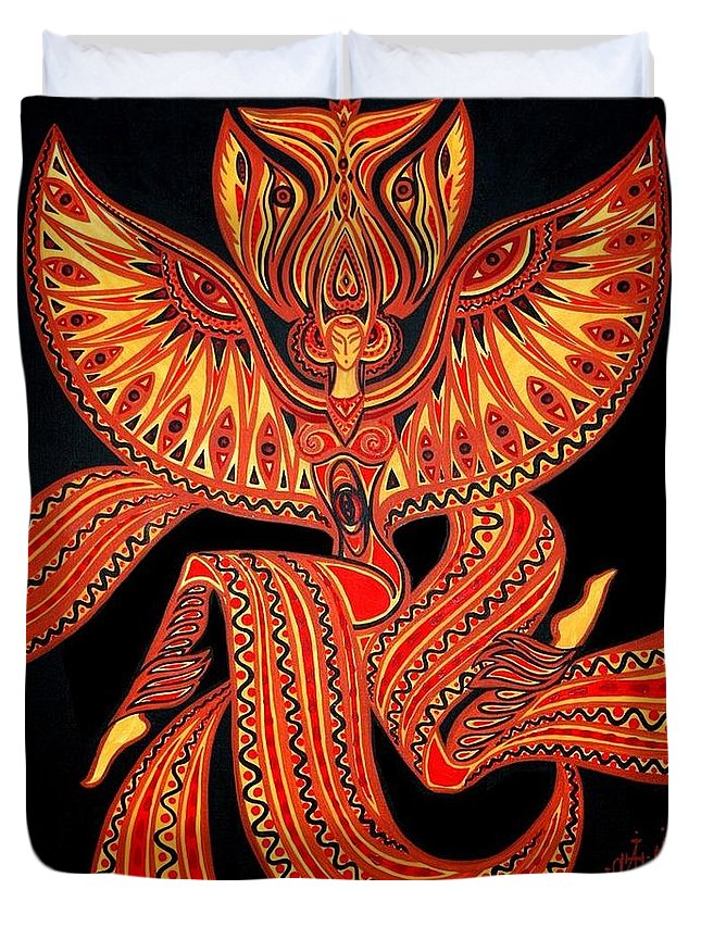 Inga Vereshchagina Duvet Cover featuring the painting Magic Dance by Inga Vereshchagina