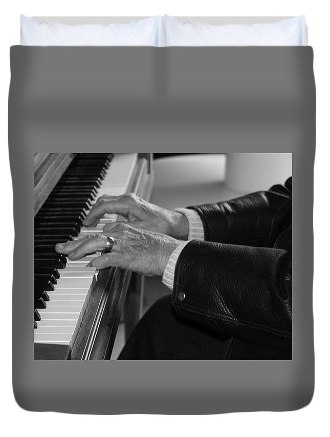 Piano Duvet Cover featuring the photograph Magic Fingers by Kelley Conkling