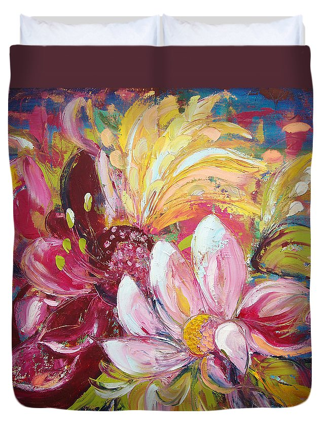 Magic Duvet Cover featuring the painting Magic Flowers by Gina De Gorna