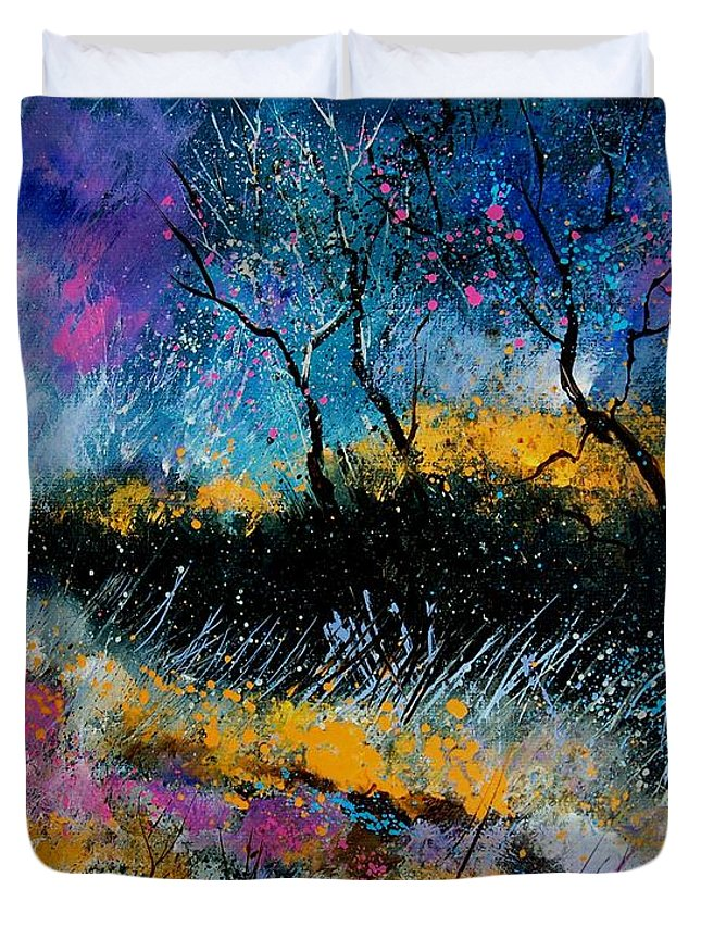 Landscape Duvet Cover featuring the painting Magic Morning Light by Pol Ledent