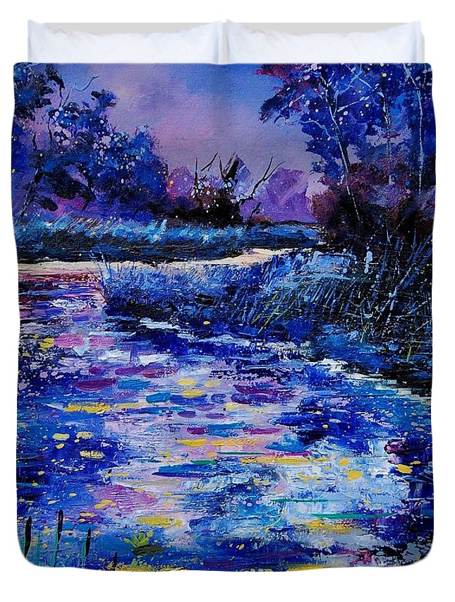 River Duvet Cover featuring the painting Magic Pond by Pol Ledent