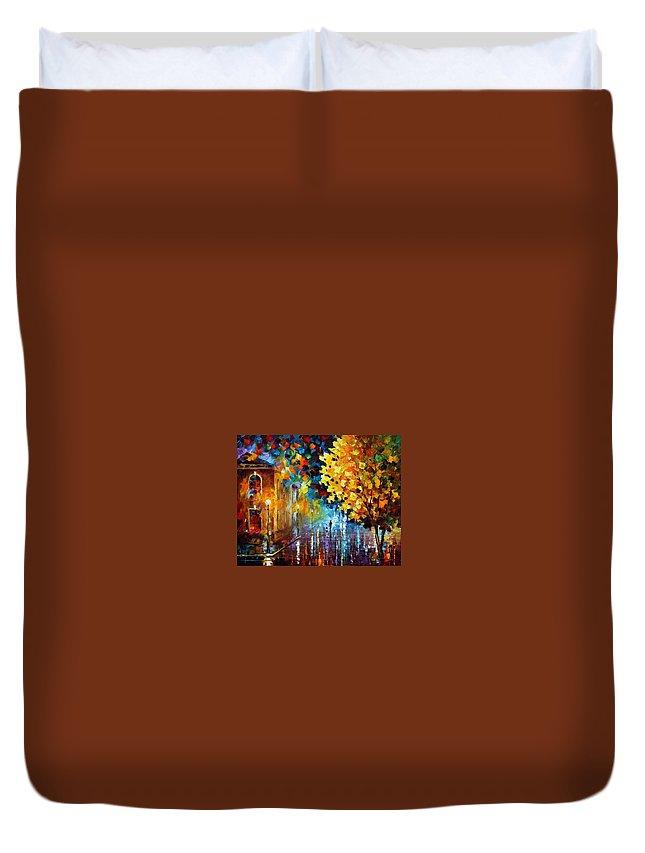 Afremov Duvet Cover featuring the painting Magic Rain by Leonid Afremov