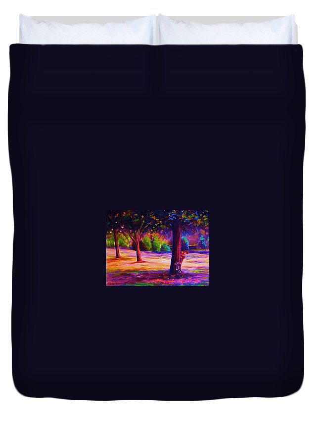 Landscape Duvet Cover featuring the painting Magical Day In The Park by Carole Spandau