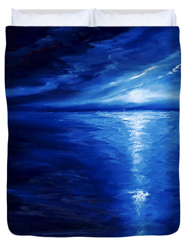Blue Moon Duvet Cover featuring the painting Magical Moonlight by James Christopher Hill