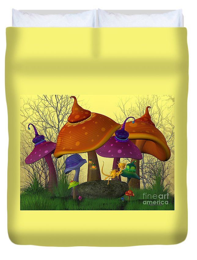 Mushroom Duvet Cover featuring the painting Magical Mushrooms by Corey Ford