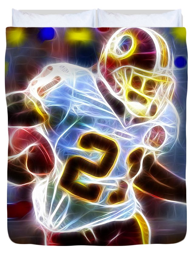 Sean Taylor Duvet Cover featuring the painting Magical Sean Taylor by Paul Van Scott