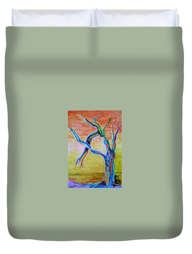 Abstract Painting Duvet Cover featuring the painting Magical Tree by Suzanne Udell Levinger