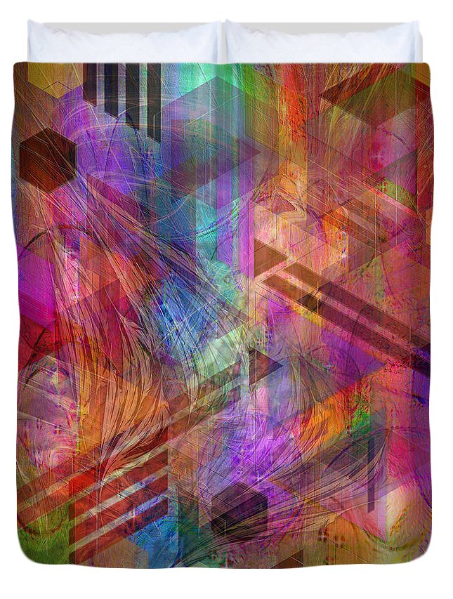 Magnetic Abstraction Duvet Cover featuring the digital art Magnetic Abstraction by John Beck