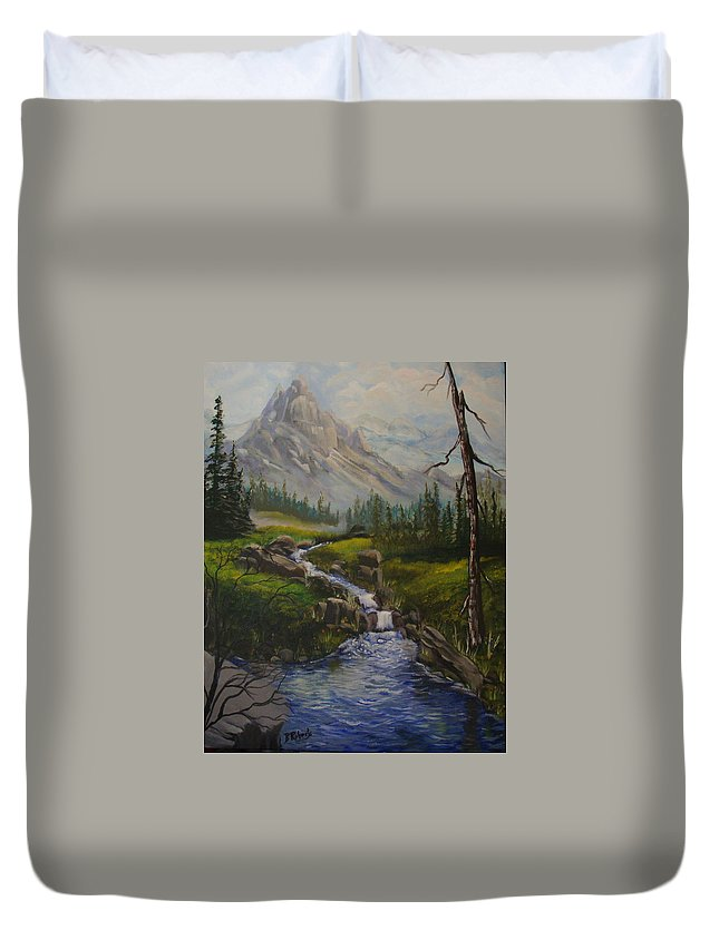 Landscape- A Beautiful Valley Below A Beautiful Mountain In The Rockies. This Would Be A Typical Scene In The Rocky Mountains. Such A Happy Place To Be. Duvet Cover featuring the painting Magnificent Rockies by Bobbie Roberts