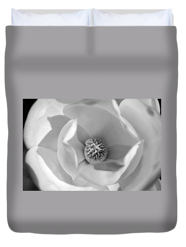 Black And White Duvet Cover featuring the photograph Magnolia Black And White by Jill Reger