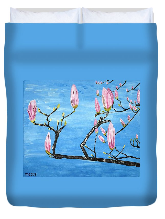 Magnolia Duvet Cover featuring the painting Magnolia Blossom by Valerie Ornstein