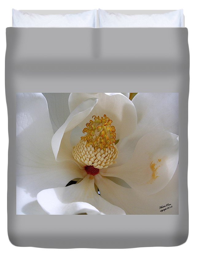 White Duvet Cover featuring the photograph Magnolia Happiness by Michele Penn
