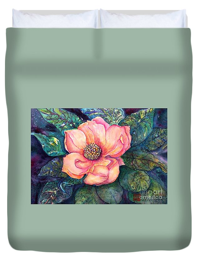 Flowers Duvet Cover featuring the painting Magnolia In The Evening by Norma Boeckler