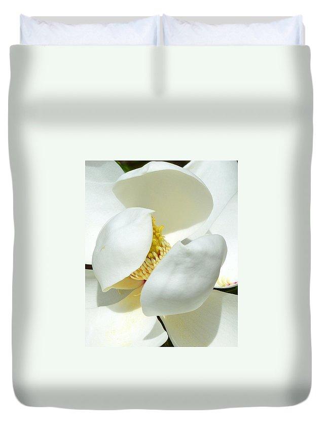 Magnolia Duvet Cover featuring the photograph Magnolia Macro by Linda Covino