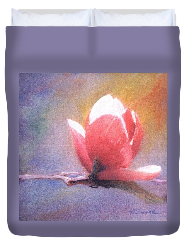 Magnolia Flower Duvet Cover featuring the pastel Magnolia by Pat Snook