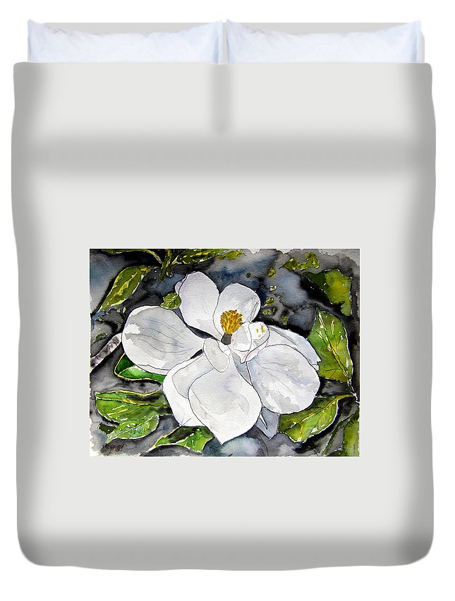 Magnolia Duvet Cover featuring the painting Magnolia Tree Flower by Derek Mccrea