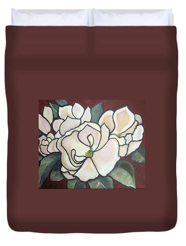 Flowers Duvet Cover featuring the painting Magnolias Under Glass by Martha Mullins