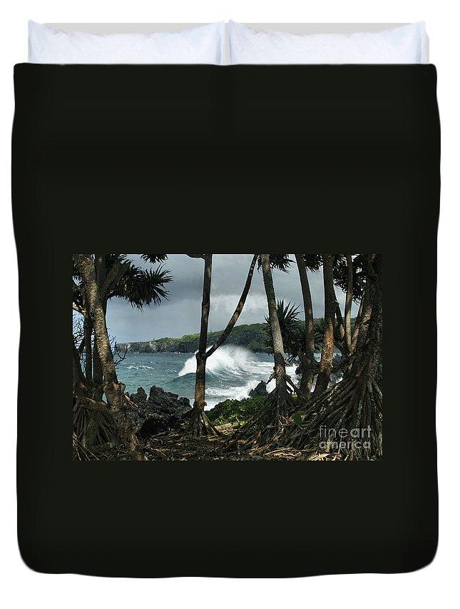 Aloha Duvet Cover featuring the photograph Mahama Lauhala Keanae Peninsula Maui Hawaii by Sharon Mau