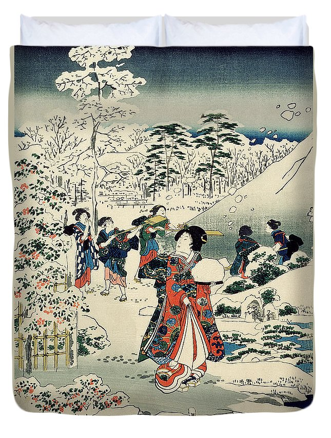 Maids In A Snow-covered Garden Duvet Cover featuring the painting Maids In A Snow Covered Garden by Hiroshige