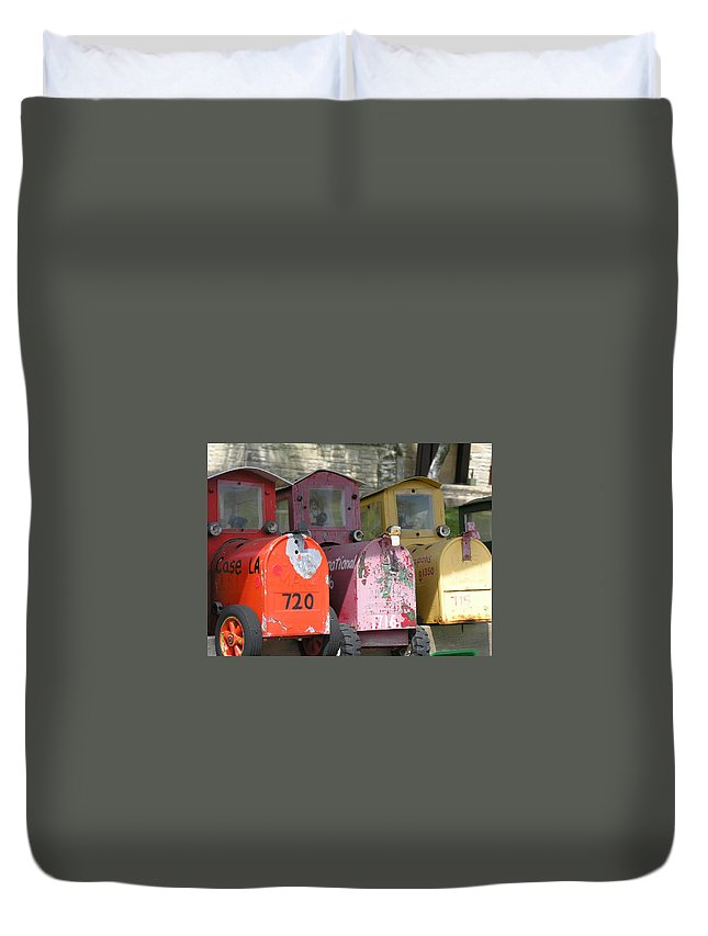 Mail Duvet Cover featuring the photograph Mail Boxes Wi by Diane Greco-Lesser