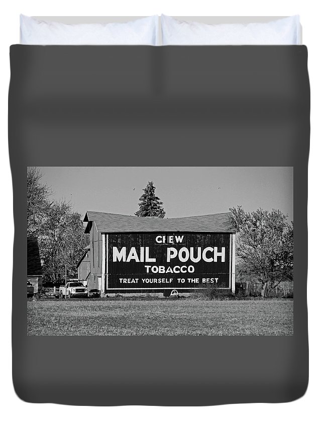 Landscape Duvet Cover featuring the photograph Mail Pouch Tobacco In Black And White by Michiale Schneider