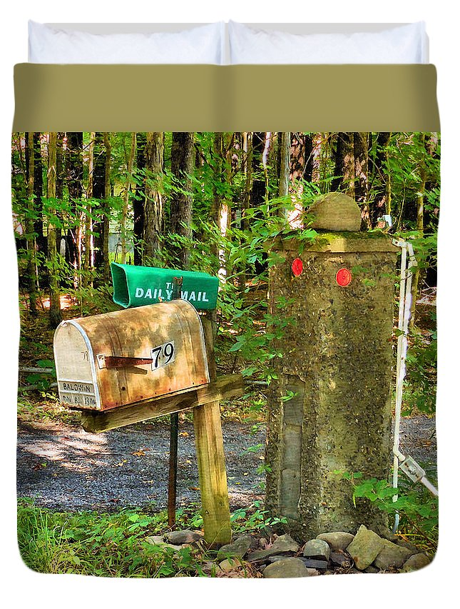 Mailbox On The Rural Country Road Duvet Cover featuring the painting Mailbox On The Rural Country Road by Jeelan Clark