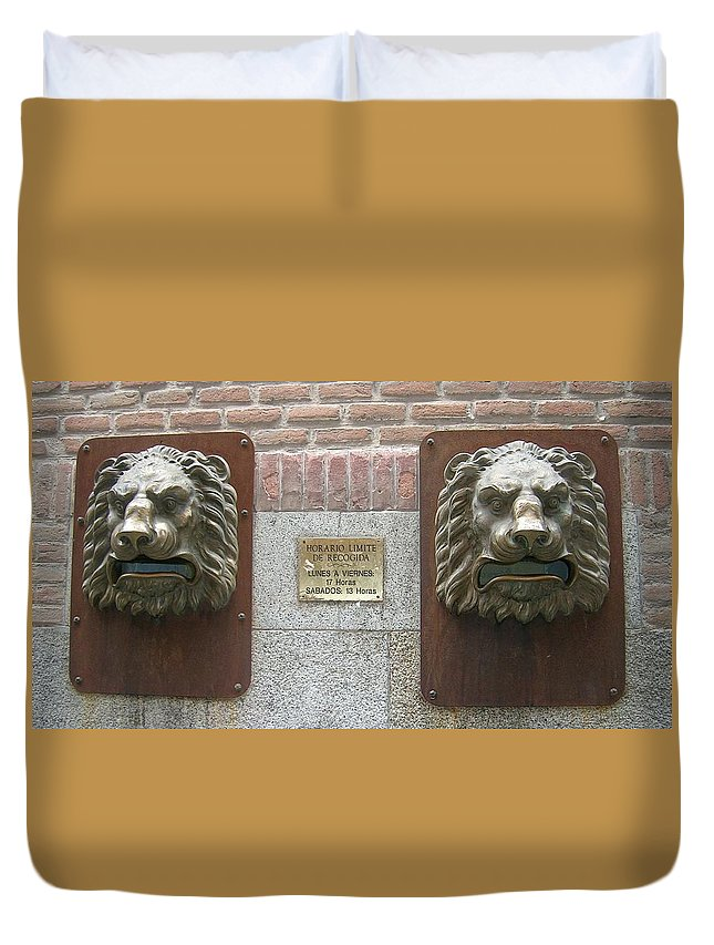 Mailbox Duvet Cover featuring the photograph Mailboxes In Toledo Spain by Valerie Ornstein