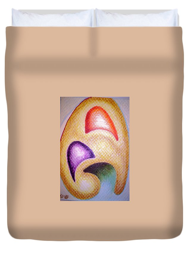 Abstract Duvet Cover featuring the drawing Mailed To You by Suzanne Udell Levinger