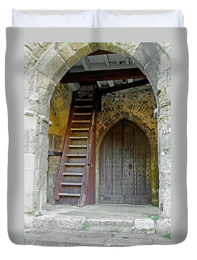 Isle Of Wight Duvet Cover featuring the photograph Main Entrance To St Mary's Church At Brading by Rod Johnson