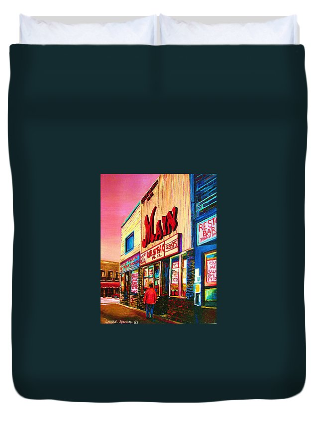 Montreal Duvet Cover featuring the painting Main Steakhouse Blvd.st.laurent by Carole Spandau