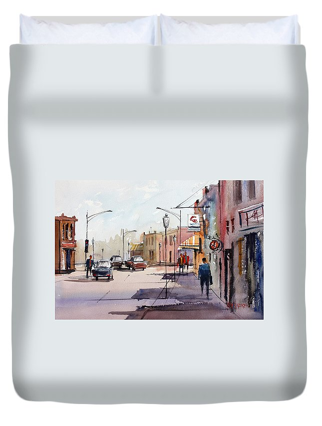 Street Scene Duvet Cover featuring the painting Main Street - Wautoma by Ryan Radke