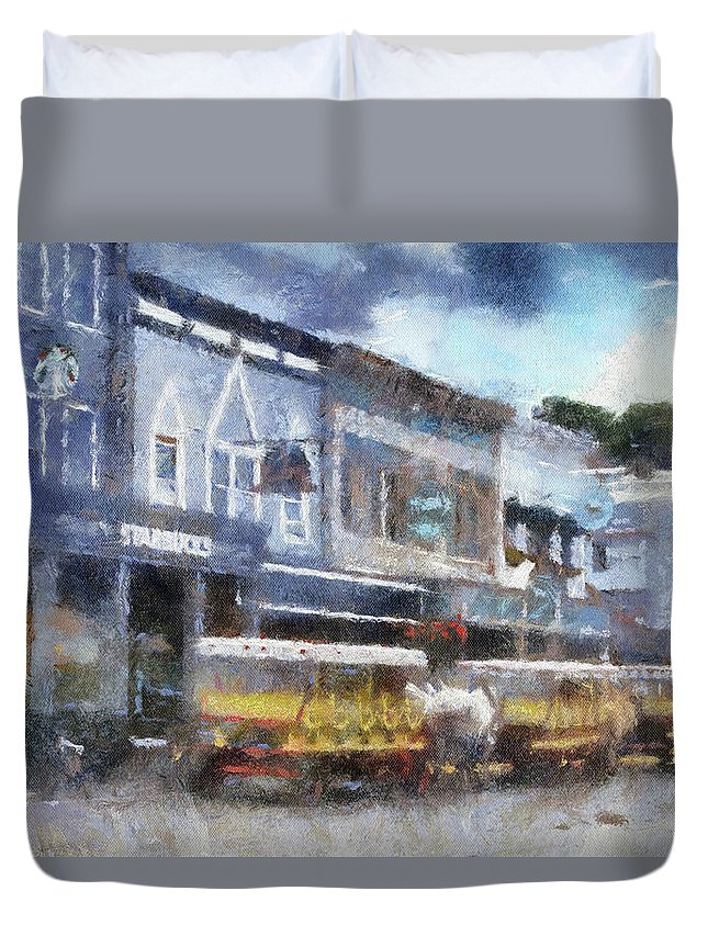 Mackinac Duvet Cover featuring the photograph Main Street Mackinac Island Michigan Pa 04 by Thomas Woolworth