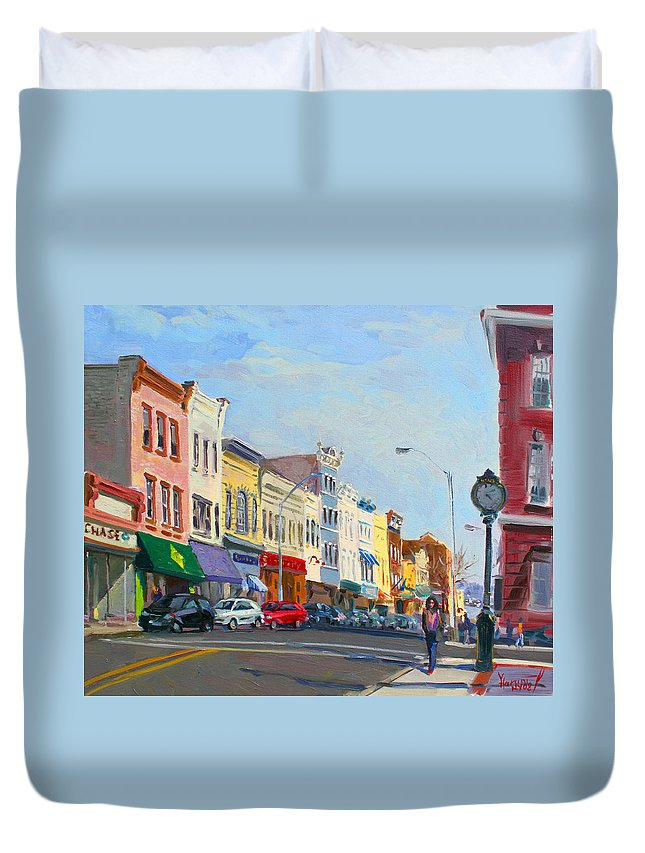 Main Street Duvet Cover featuring the painting Main Street Nayck NY by Ylli Haruni